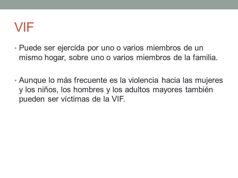 VIF Puede ser ejercida por uno o varios miembros de un mismo hogar, sobre uno o varios miembros de la familia. Aunque lo más frecuente es la violencia
