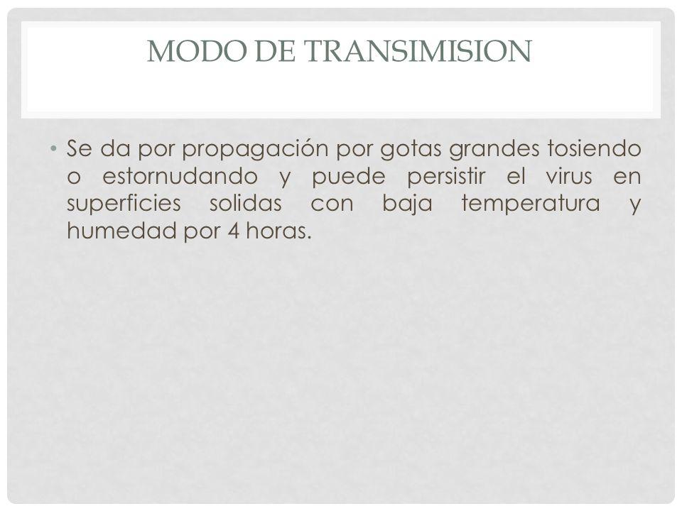 MODO DE TRANSIMISION Se da por propagación por gotas grandes tosiendo o estornudando y puede persistir el virus en superficies solidas con baja temper