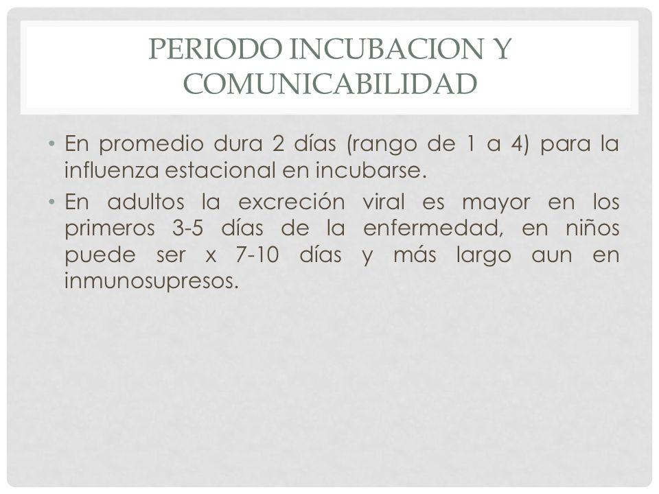 PERIODO INCUBACION Y COMUNICABILIDAD En promedio dura 2 días (rango de 1 a 4) para la influenza estacional en incubarse. En adultos la excreción viral