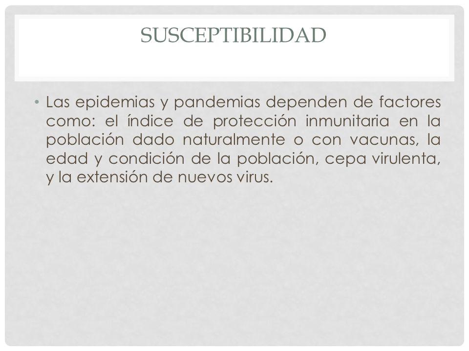 SUSCEPTIBILIDAD Las epidemias y pandemias dependen de factores como: el índice de protección inmunitaria en la población dado naturalmente o con vacun