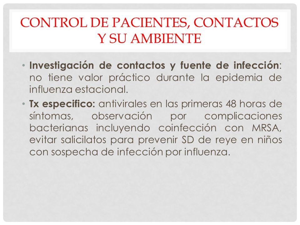 CONTROL DE PACIENTES, CONTACTOS Y SU AMBIENTE Investigación de contactos y fuente de infección : no tiene valor práctico durante la epidemia de influe