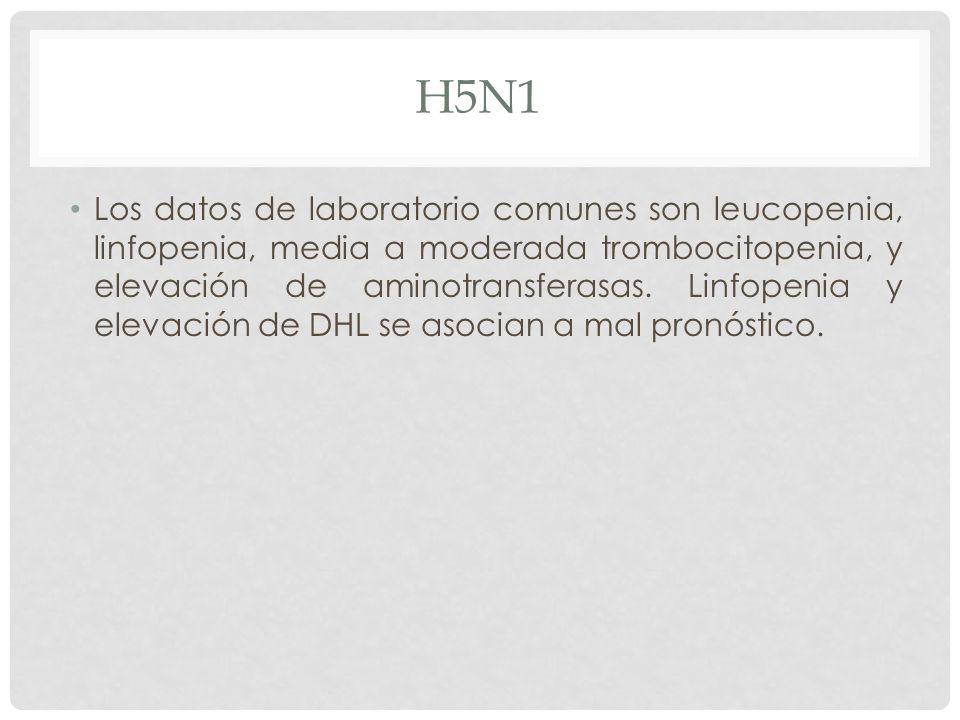 H5N1 Los datos de laboratorio comunes son leucopenia, linfopenia, media a moderada trombocitopenia, y elevación de aminotransferasas. Linfopenia y ele