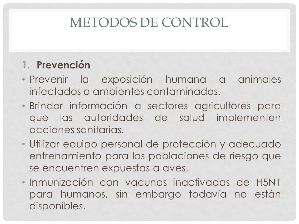 METODOS DE CONTROL 1.Prevención Prevenir la exposición humana a animales infectados o ambientes contaminados. Brindar información a sectores agriculto