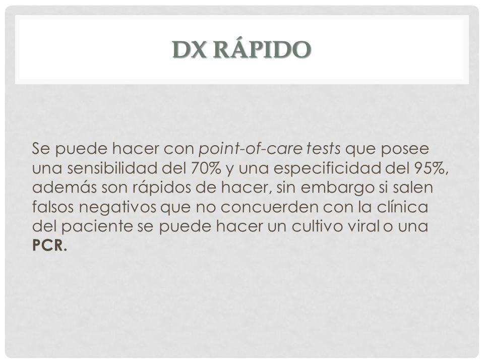 DX RÁPIDO Se puede hacer con point-of-care tests que posee una sensibilidad del 70% y una especificidad del 95%, además son rápidos de hacer, sin emba