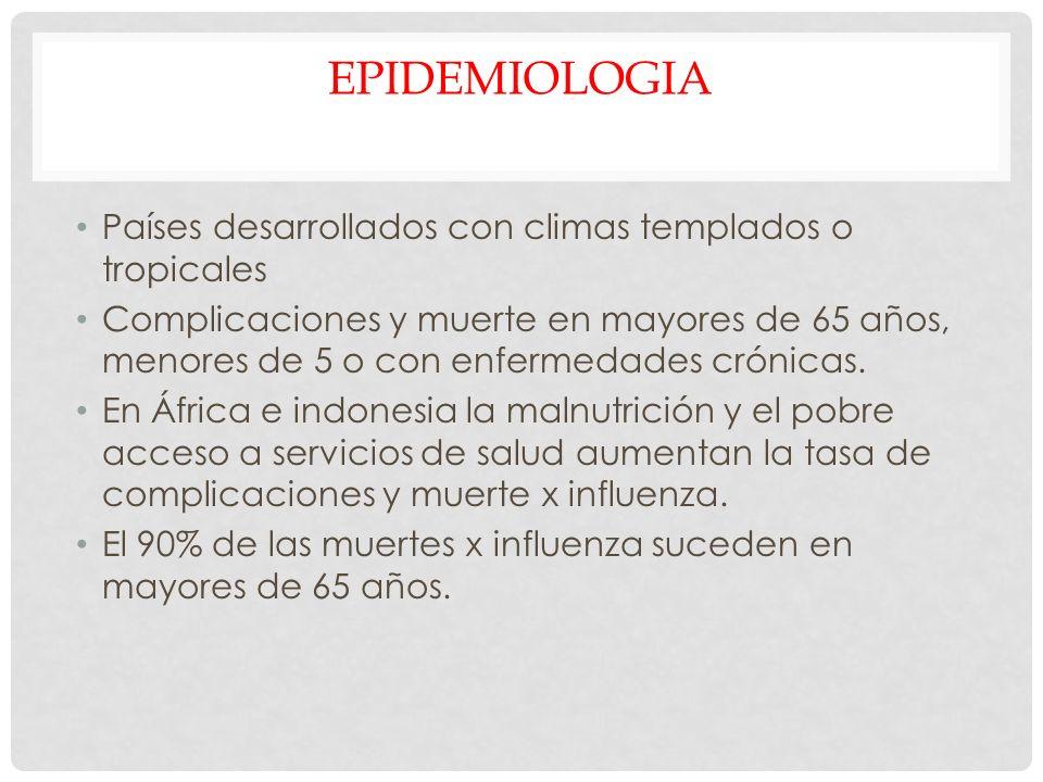 EPIDEMIOLOGIA Países desarrollados con climas templados o tropicales Complicaciones y muerte en mayores de 65 años, menores de 5 o con enfermedades cr