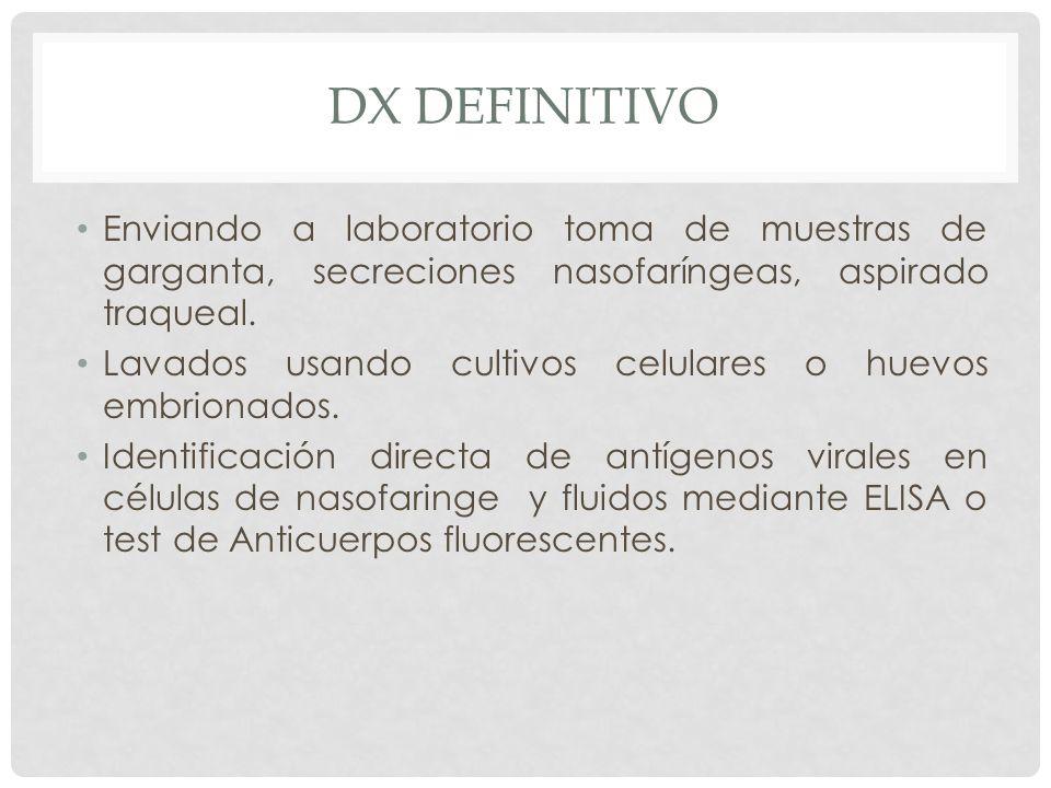 DX DEFINITIVO Enviando a laboratorio toma de muestras de garganta, secreciones nasofaríngeas, aspirado traqueal. Lavados usando cultivos celulares o h
