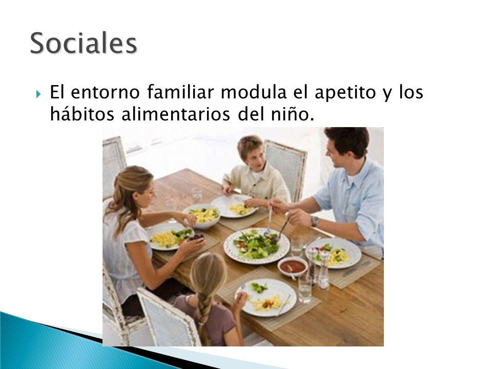 El entorno familiar modula el apetito y los hábitos alimentarios del niño. Sociales