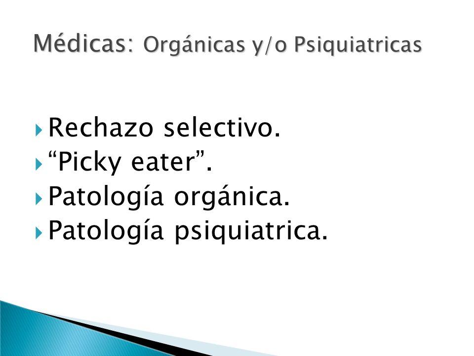 Rechazo selectivo. Picky eater. Patología orgánica. Patología psiquiatrica. Médicas: Orgánicas y/o Psiquiatricas