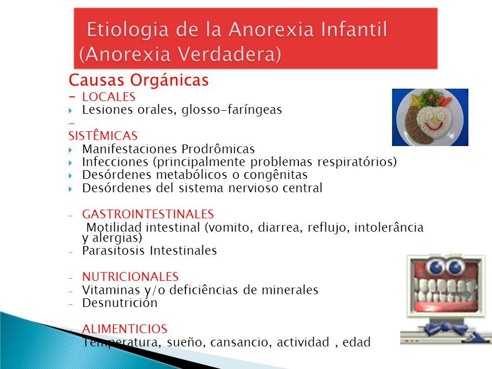 Causas Orgánicas - LOCALES Lesiones orales, glosso-faríngeas - SISTÊMICAS Manifestaciones Prodrômicas Infecciones (principalmente problemas respiratór