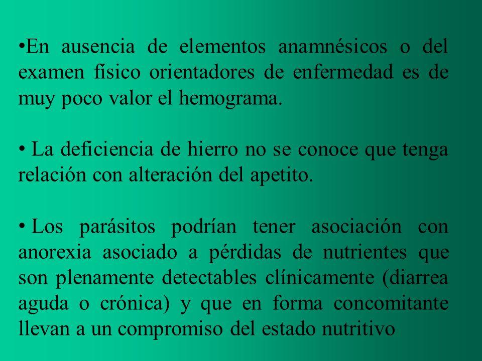 En ausencia de elementos anamnésicos o del examen físico orientadores de enfermedad es de muy poco valor el hemograma. La deficiencia de hierro no se