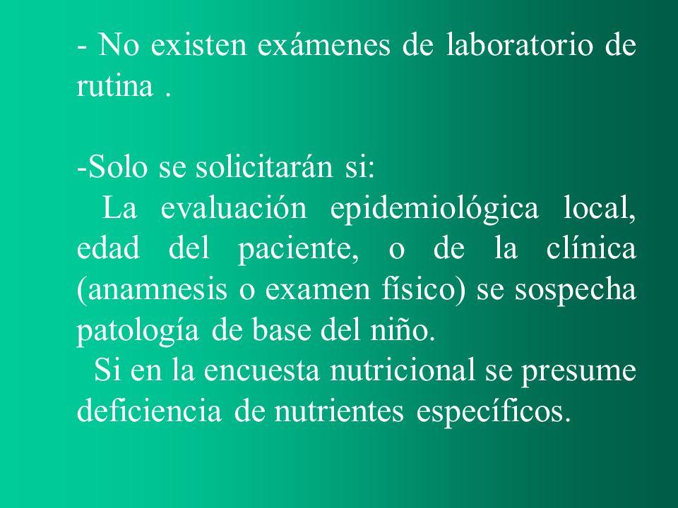 - No existen exámenes de laboratorio de rutina. -Solo se solicitarán si: La evaluación epidemiológica local, edad del paciente, o de la clínica (anamn