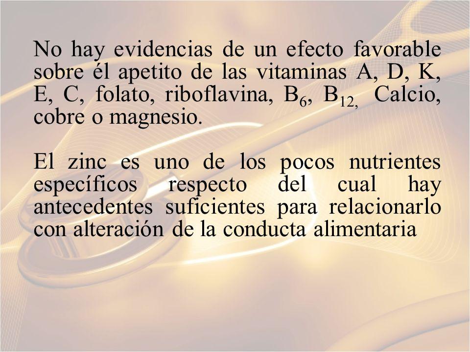 No hay evidencias de un efecto favorable sobre él apetito de las vitaminas A, D, K, E, C, folato, riboflavina, B 6, B 12, Calcio, cobre o magnesio. El