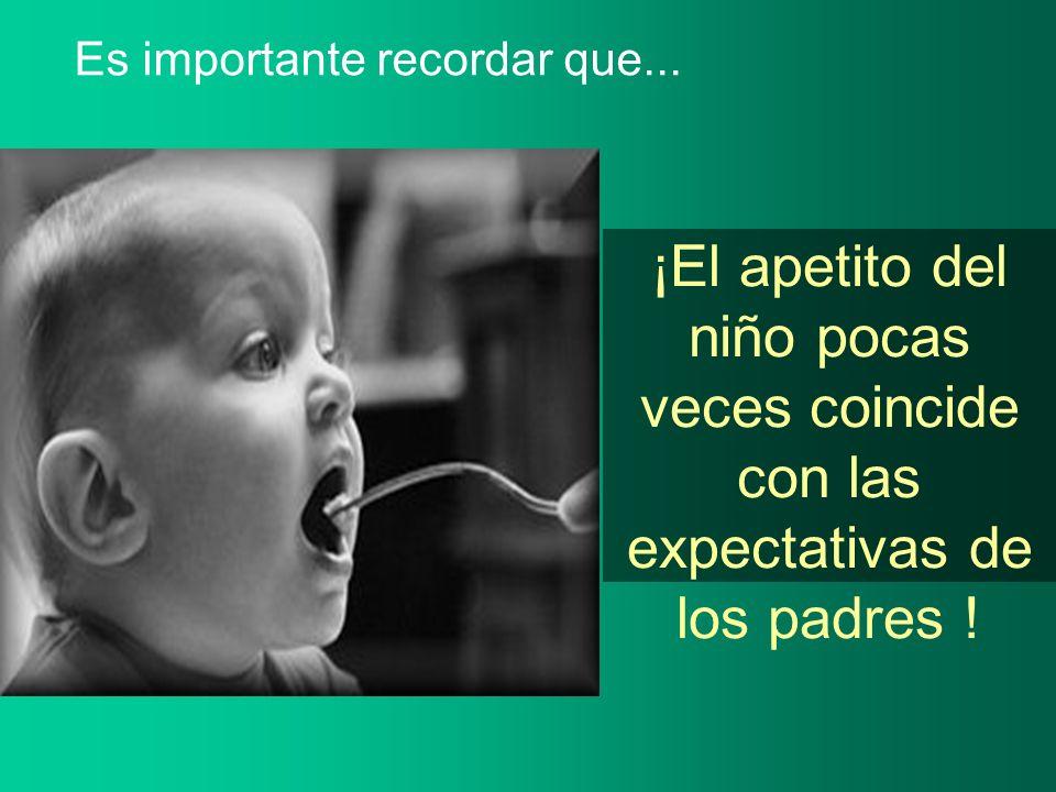 ¡El apetito del niño pocas veces coincide con las expectativas de los padres ! Es importante recordar que...