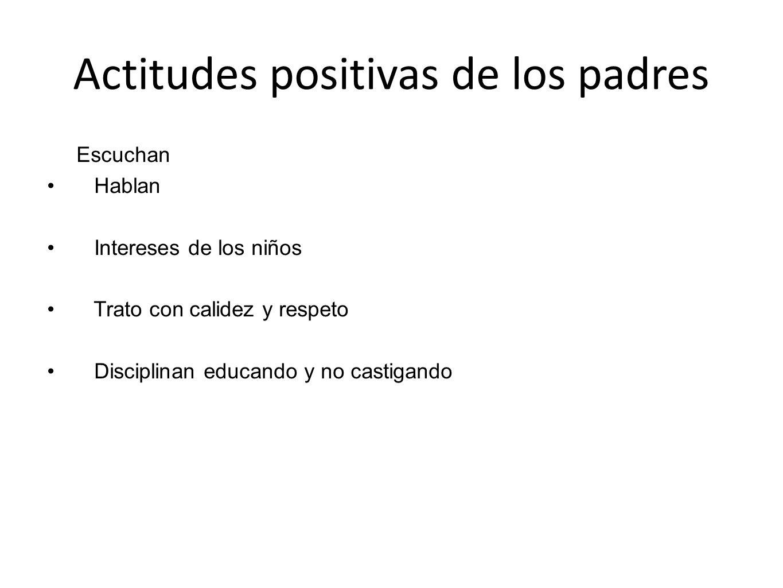 Actitudes positivas de los padres Escuchan Hablan Intereses de los niños Trato con calidez y respeto Disciplinan educando y no castigando