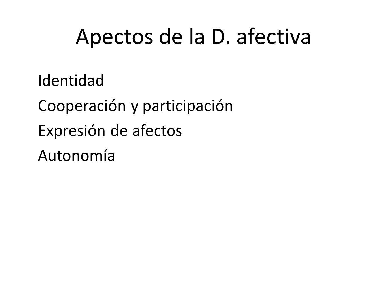 Apectos de la D. afectiva Identidad Cooperación y participación Expresión de afectos Autonomía