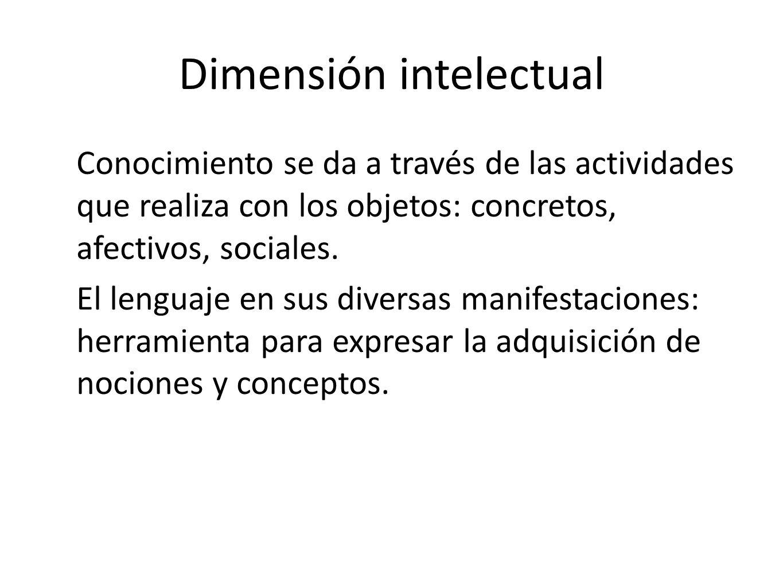 Dimensión intelectual Conocimiento se da a través de las actividades que realiza con los objetos: concretos, afectivos, sociales. El lenguaje en sus d