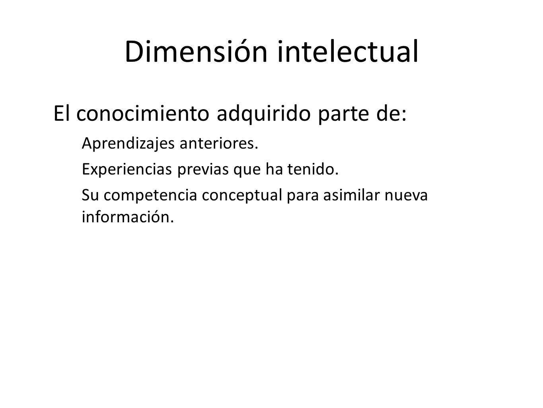 Dimensión intelectual El conocimiento adquirido parte de: Aprendizajes anteriores. Experiencias previas que ha tenido. Su competencia conceptual para