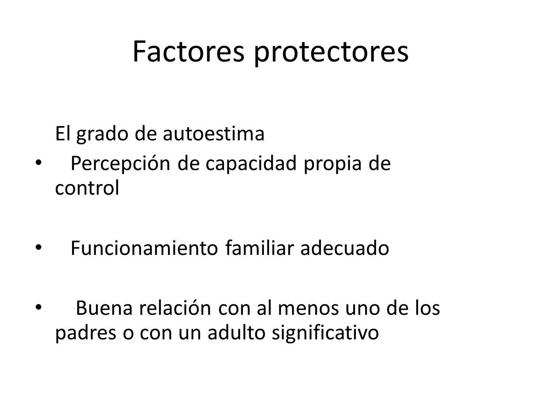 Factores protectores El grado de autoestima Percepción de capacidad propia de control Funcionamiento familiar adecuado Buena relación con al menos uno
