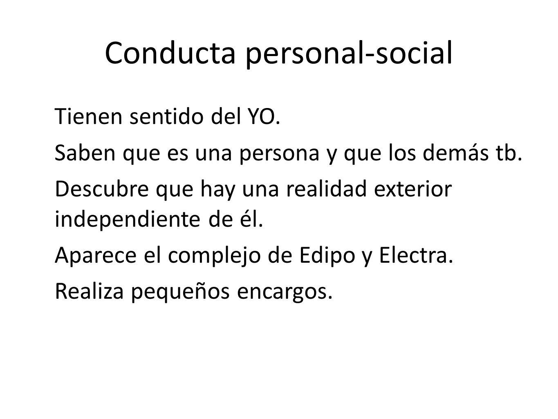 Conducta personal-social Tienen sentido del YO. Saben que es una persona y que los demás tb. Descubre que hay una realidad exterior independiente de é