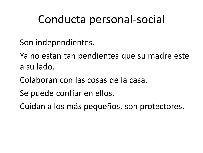 Conducta personal-social Son independientes. Ya no estan tan pendientes que su madre este a su lado. Colaboran con las cosas de la casa. Se puede conf