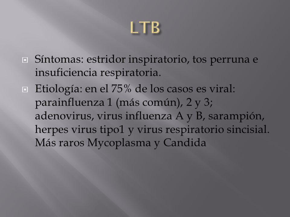 Síntomas: estridor inspiratorio, tos perruna e insuficiencia respiratoria. Etiología: en el 75% de los casos es viral: parainfluenza 1 (más común), 2