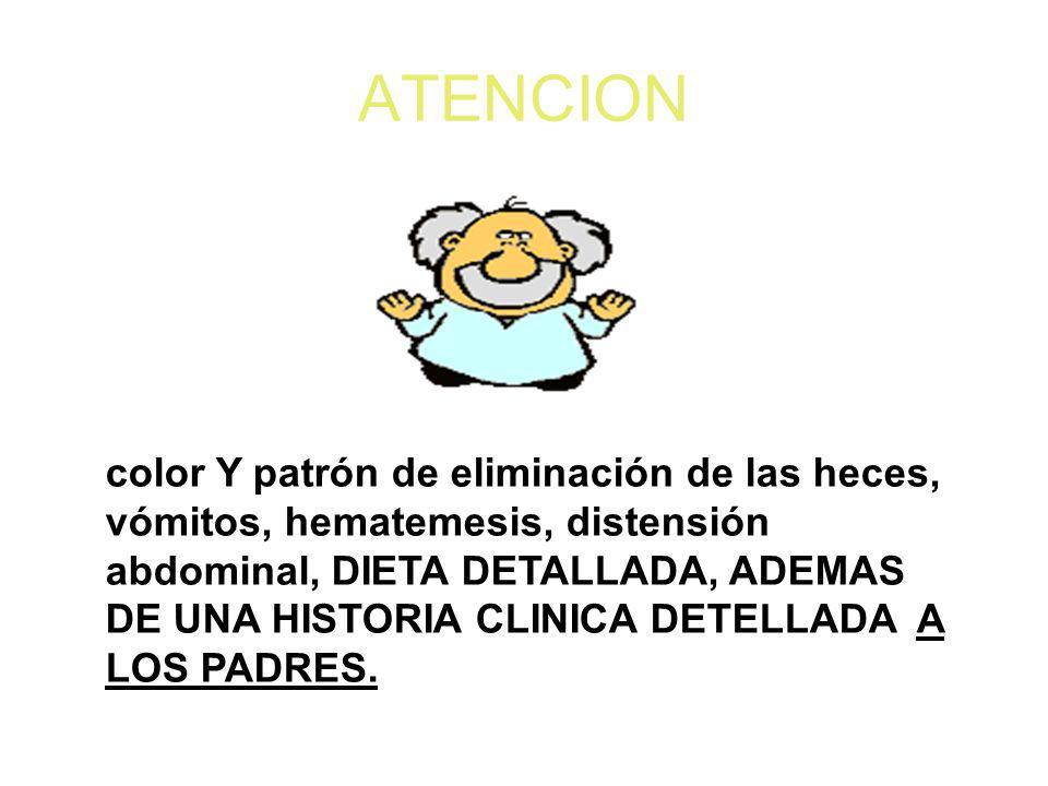 ATENCION color Y patrón de eliminación de las heces, vómitos, hematemesis, distensión abdominal, DIETA DETALLADA, ADEMAS DE UNA HISTORIA CLINICA DETEL