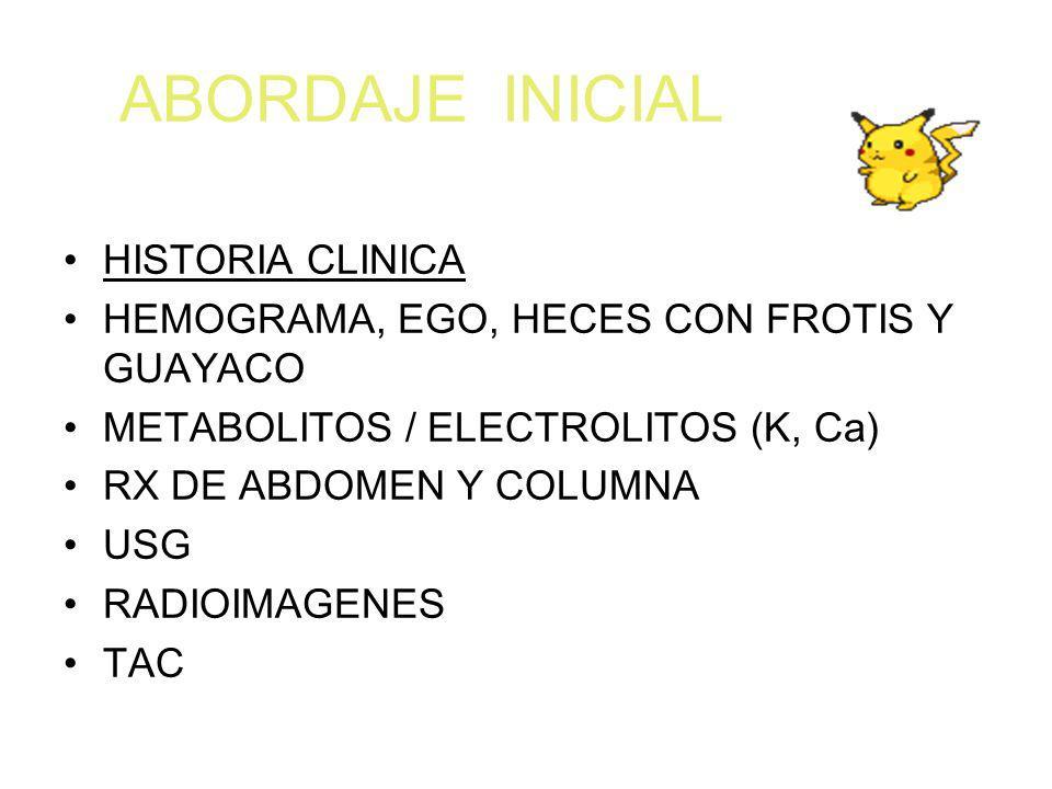 ABORDAJE INICIAL HISTORIA CLINICA HEMOGRAMA, EGO, HECES CON FROTIS Y GUAYACO METABOLITOS / ELECTROLITOS (K, Ca) RX DE ABDOMEN Y COLUMNA USG RADIOIMAGE