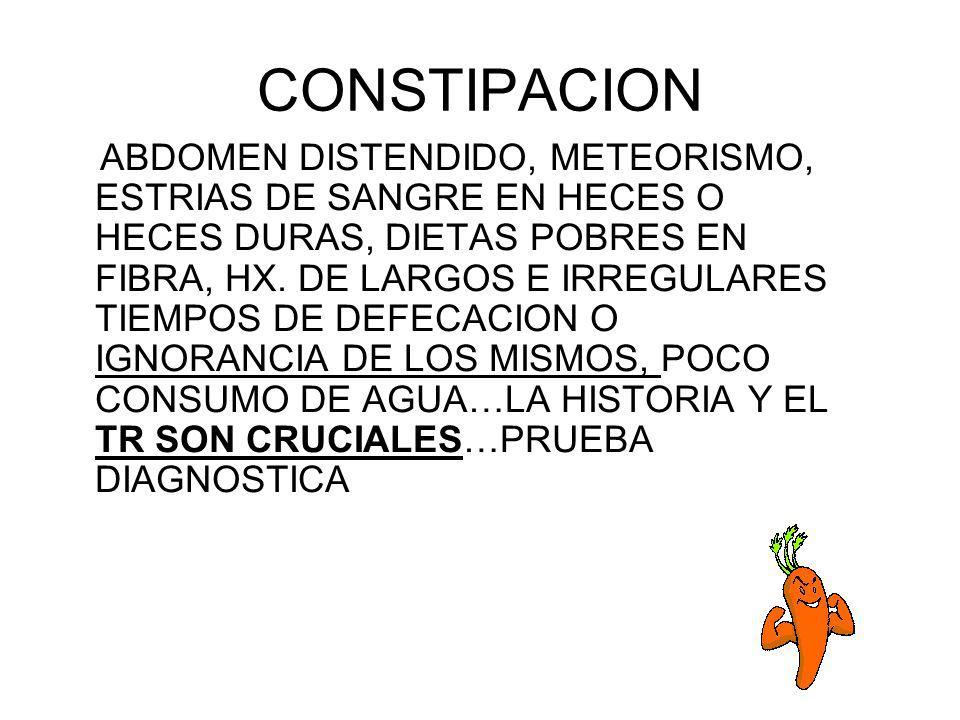 CONSTIPACION ABDOMEN DISTENDIDO, METEORISMO, ESTRIAS DE SANGRE EN HECES O HECES DURAS, DIETAS POBRES EN FIBRA, HX. DE LARGOS E IRREGULARES TIEMPOS DE