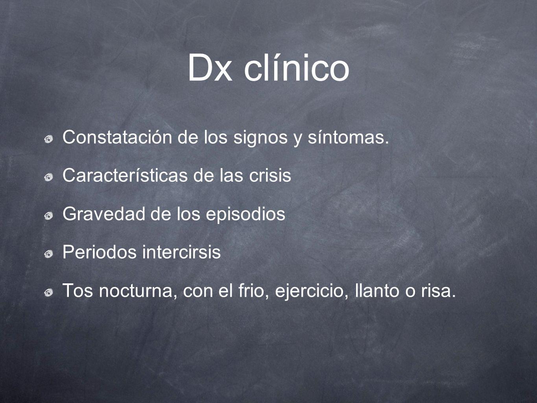 Dx clínico Constatación de los signos y síntomas. Características de las crisis Gravedad de los episodios Periodos intercirsis Tos nocturna, con el fr