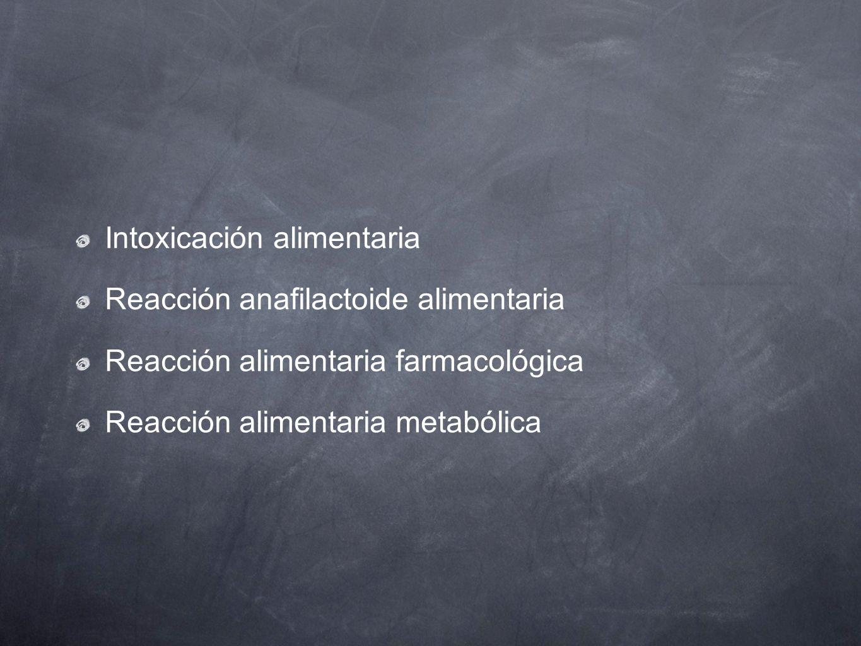 Intoxicación alimentaria Reacción anafilactoide alimentaria Reacción alimentaria farmacológica Reacción alimentaria metabólica