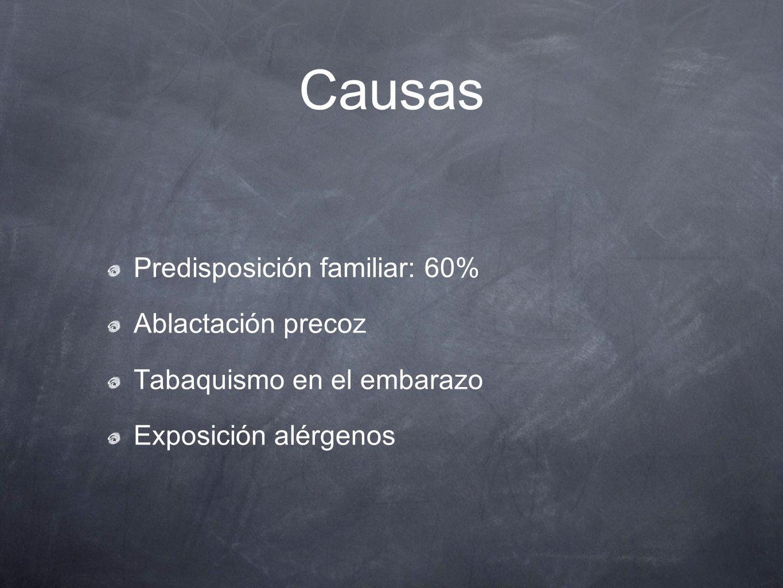 Causas Predisposición familiar: 60% Ablactación precoz Tabaquismo en el embarazo Exposición alérgenos