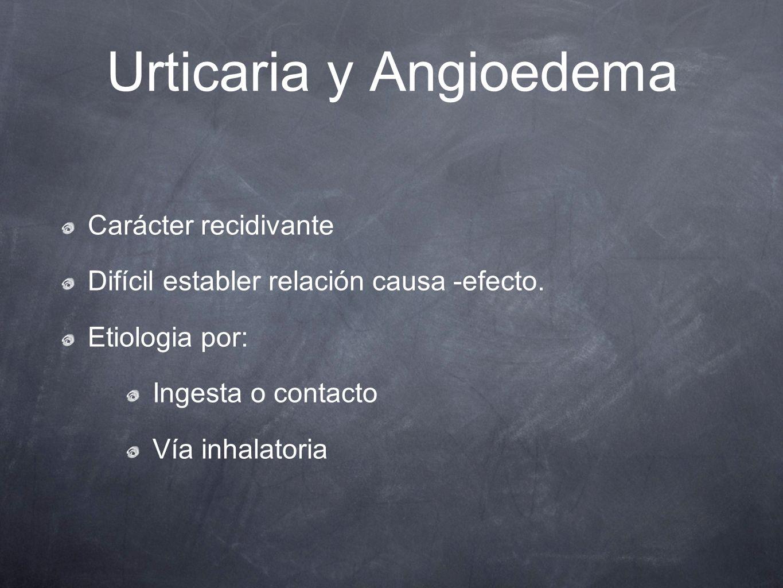 Urticaria y Angioedema Carácter recidivante Difícil establer relación causa -efecto. Etiologia por: Ingesta o contacto Vía inhalatoria
