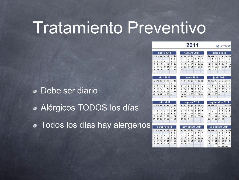 Tratamiento Preventivo Debe ser diario Alérgicos TODOS los días Todos los días hay alergenos