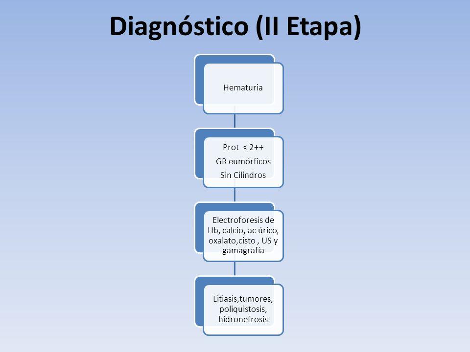 Hematuria Prot < 2++ GR eumórficos Sin Cilindros Electroforesis de Hb, calcio, ac úrico, oxalato,cisto, US y gamagrafía Litiasis,tumores, poliquistosi