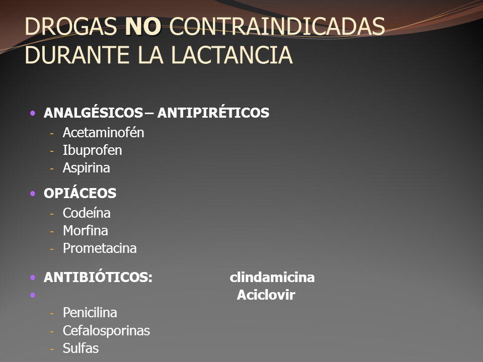 NO DROGAS NO CONTRAINDICADAS DURANTE LA LACTANCIA ANALGÉSICOS – ANTIPIRÉTICOS - Acetaminofén - Ibuprofen - Aspirina OPIÁCEOS - Codeína - Morfina - Pro