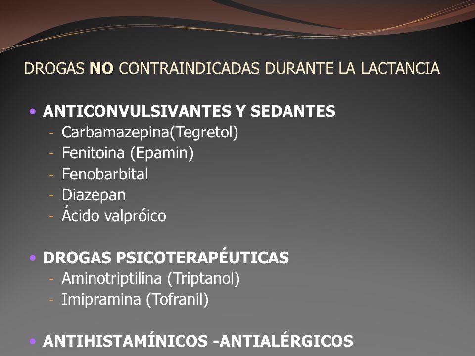NO DROGAS NO CONTRAINDICADAS DURANTE LA LACTANCIA ANTICONVULSIVANTES Y SEDANTES - Carbamazepina(Tegretol) - Fenitoina (Epamin) - Fenobarbital - Diazep