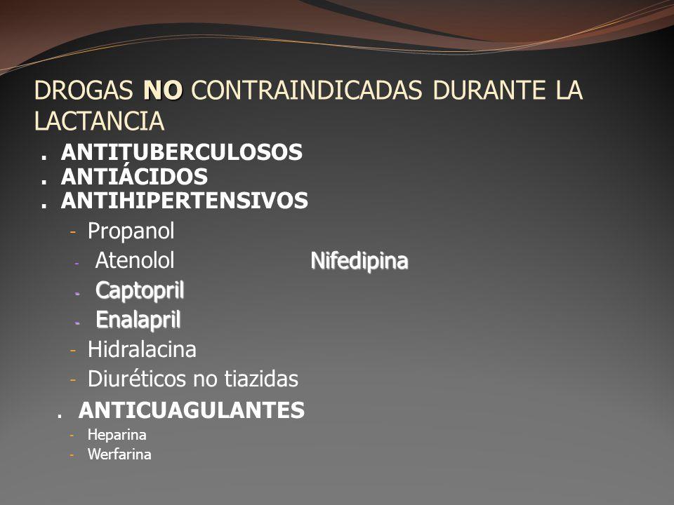 NO DROGAS NO CONTRAINDICADAS DURANTE LA LACTANCIA. ANTITUBERCULOSOS. ANTIÁCIDOS. ANTIHIPERTENSIVOS - Propanol Nifedipina - AtenololNifedipina - Captop