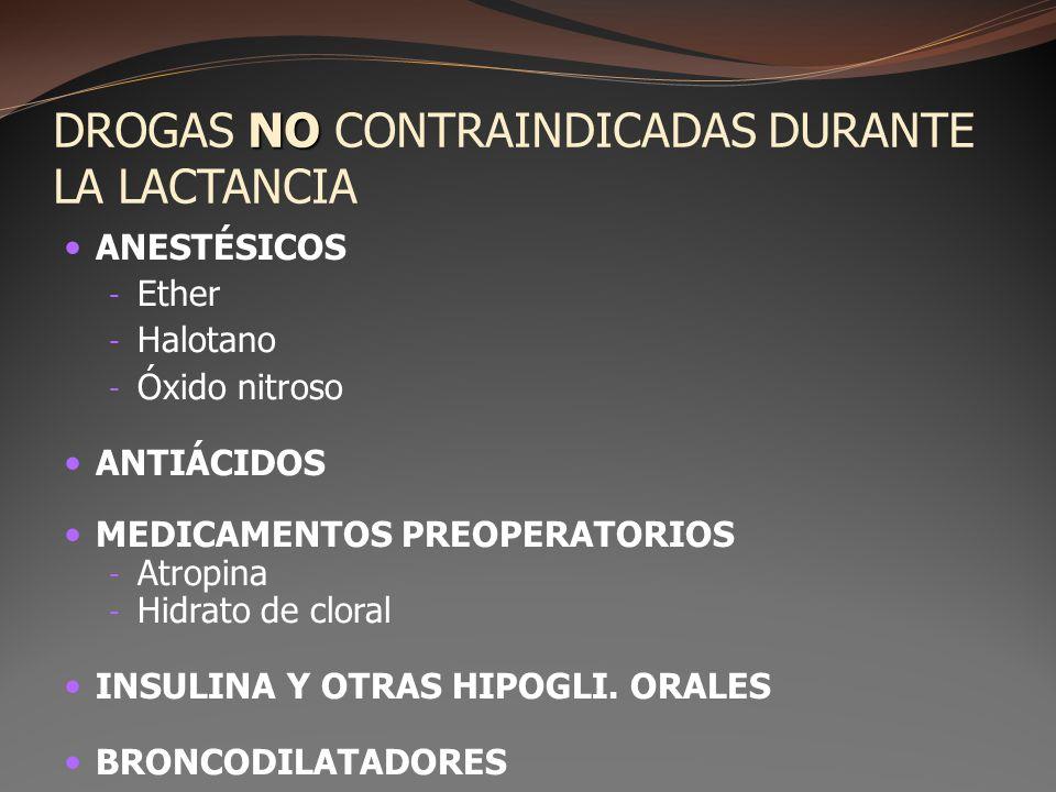 NO DROGAS NO CONTRAINDICADAS DURANTE LA LACTANCIA ANESTÉSICOS - Ether - Halotano - Óxido nitroso ANTIÁCIDOS MEDICAMENTOS PREOPERATORIOS - Atropina - H