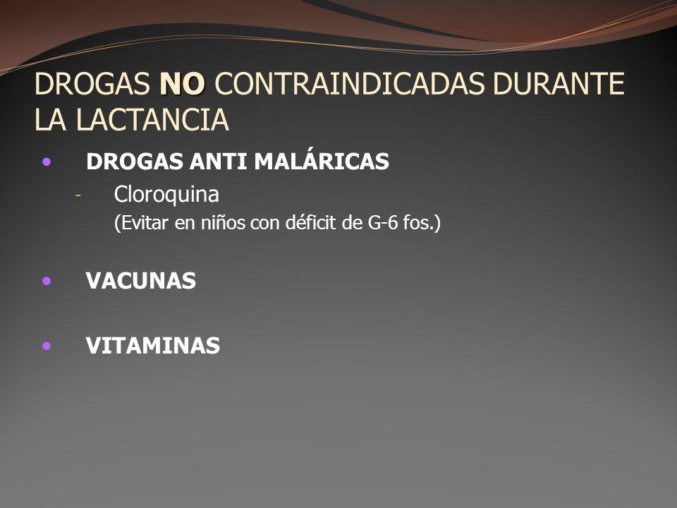 NO DROGAS NO CONTRAINDICADAS DURANTE LA LACTANCIA DROGAS ANTI MALÁRICAS - Cloroquina (Evitar en niños con déficit de G-6 fos.) VACUNAS VITAMINAS