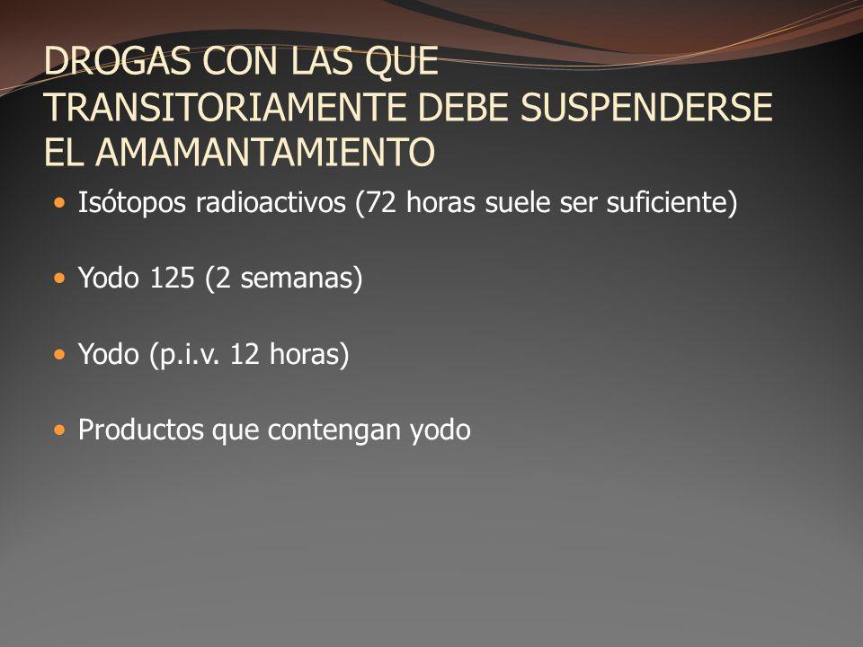 DROGAS CON LAS QUE TRANSITORIAMENTE DEBE SUSPENDERSE EL AMAMANTAMIENTO Isótopos radioactivos (72 horas suele ser suficiente) Yodo 125 (2 semanas) Yodo