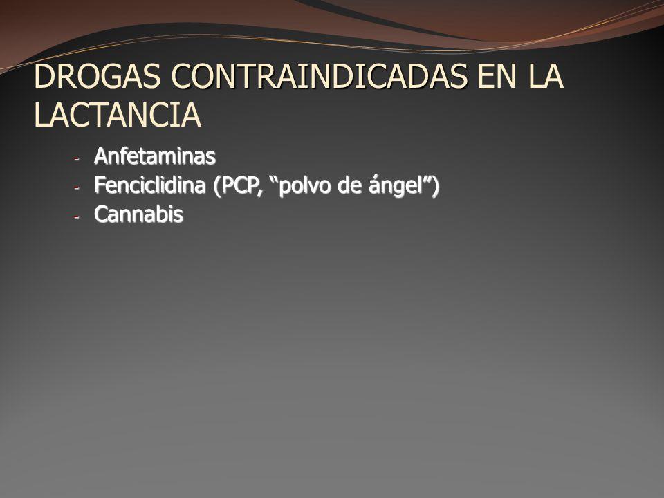 CONTRAINDICADAS DROGAS CONTRAINDICADAS EN LA LACTANCIA - Anfetaminas - Fenciclidina (PCP, polvo de ángel) - Cannabis
