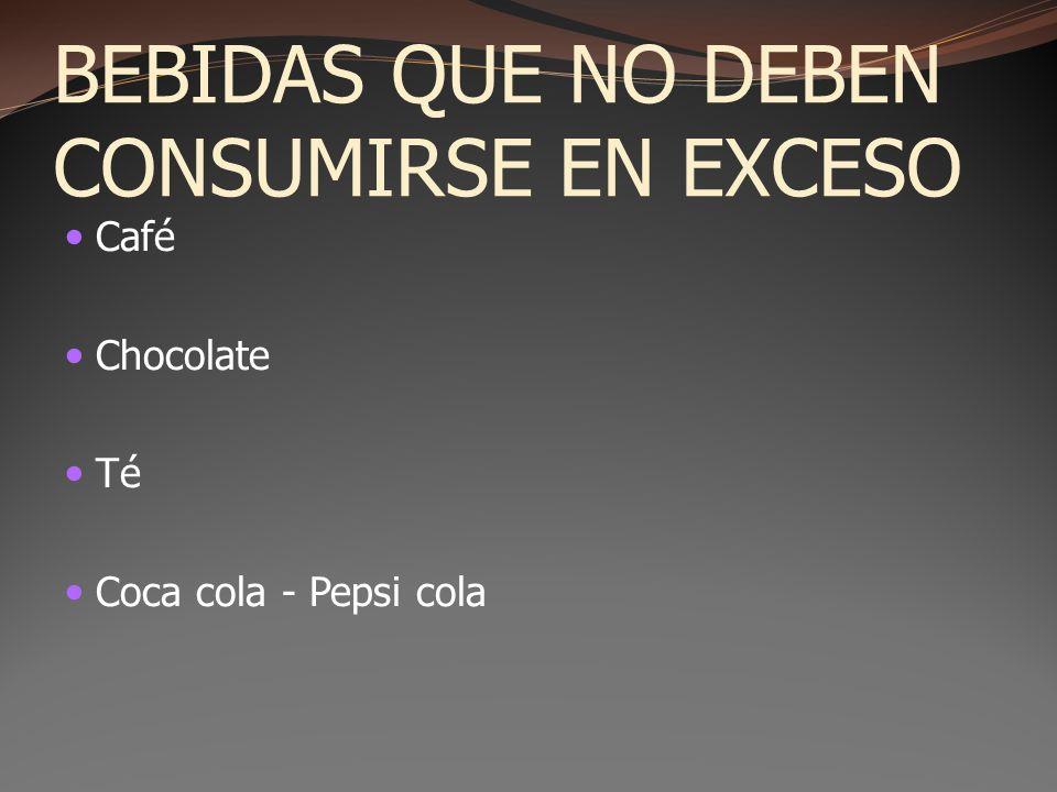 BEBIDAS QUE NO DEBEN CONSUMIRSE EN EXCESO Café Chocolate Té Coca cola - Pepsi cola