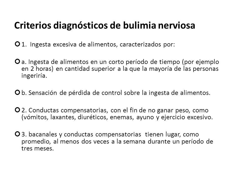 Criterios diagnósticos de bulimia nerviosa 1. Ingesta excesiva de alimentos, caracterizados por: a. Ingesta de alimentos en un corto período de tiempo