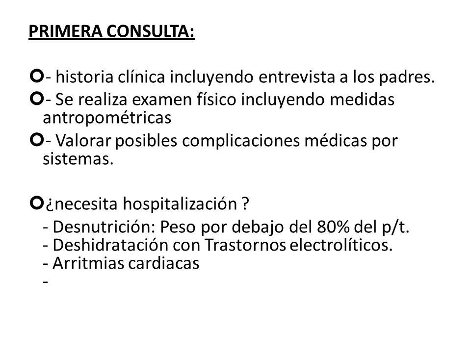 PRIMERA CONSULTA: - historia clínica incluyendo entrevista a los padres. - Se realiza examen físico incluyendo medidas antropométricas - Valorar posib