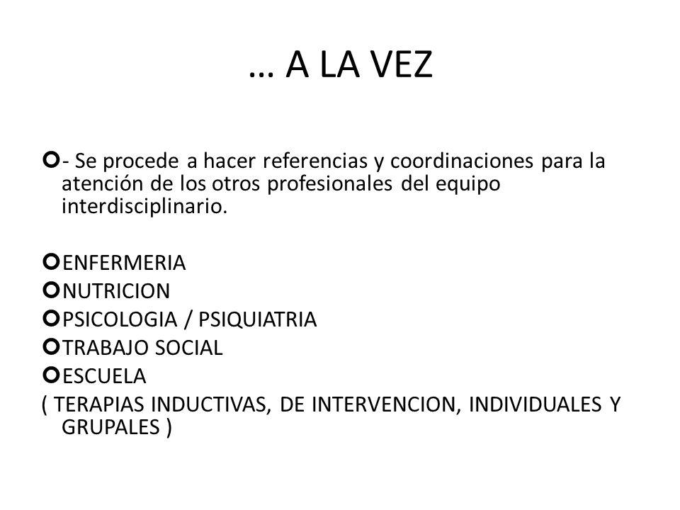 … A LA VEZ - Se procede a hacer referencias y coordinaciones para la atención de los otros profesionales del equipo interdisciplinario. ENFERMERIA NUT