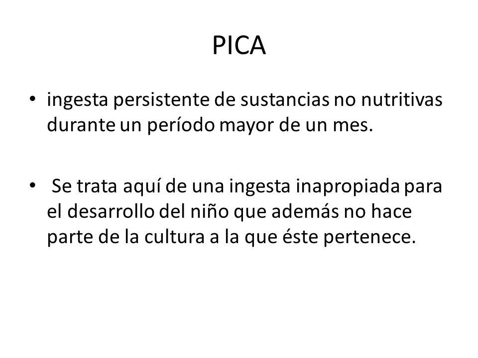 PICA ingesta persistente de sustancias no nutritivas durante un período mayor de un mes. Se trata aquí de una ingesta inapropiada para el desarrollo d