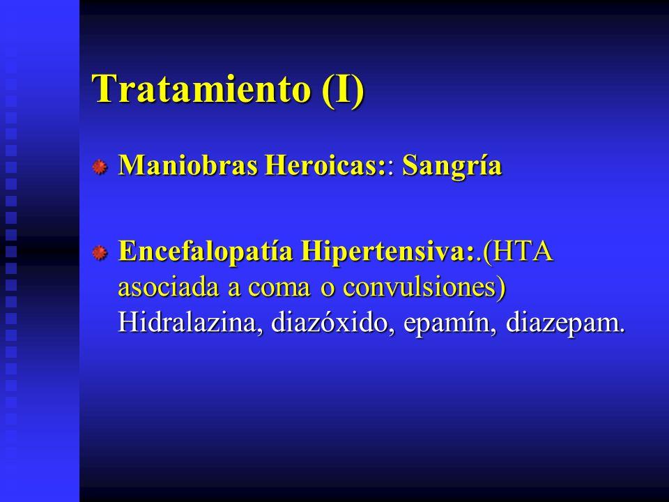Tratamiento (I) Maniobras Heroicas:: Sangría Encefalopatía Hipertensiva:.(HTA asociada a coma o convulsiones) Hidralazina, diazóxido, epamín, diazepam