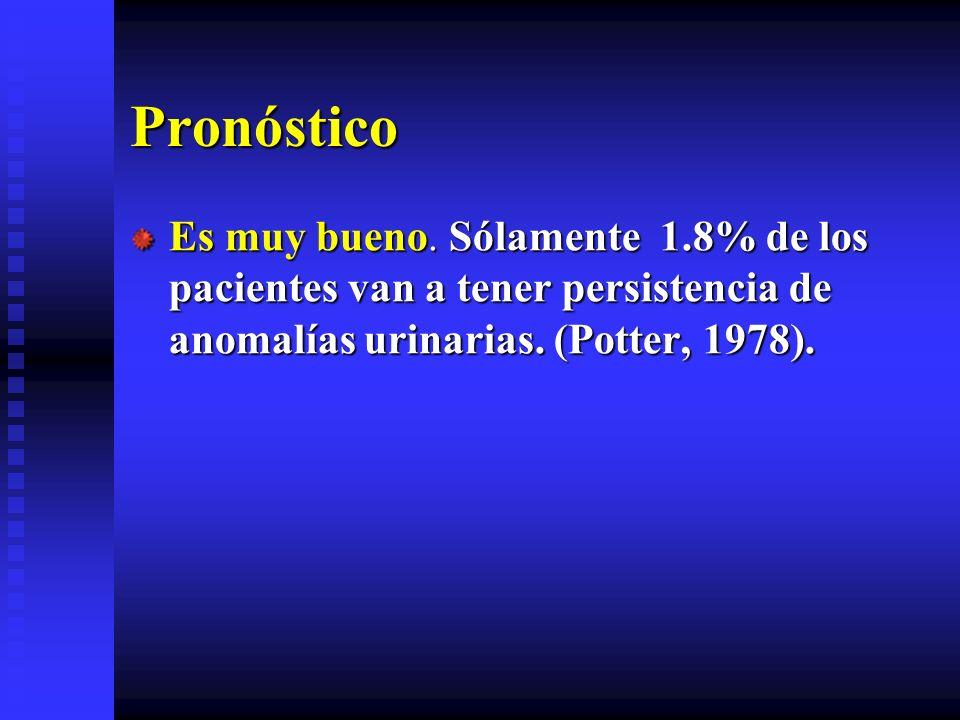 Pronóstico Es muy bueno. Sólamente 1.8% de los pacientes van a tener persistencia de anomalías urinarias. (Potter, 1978).
