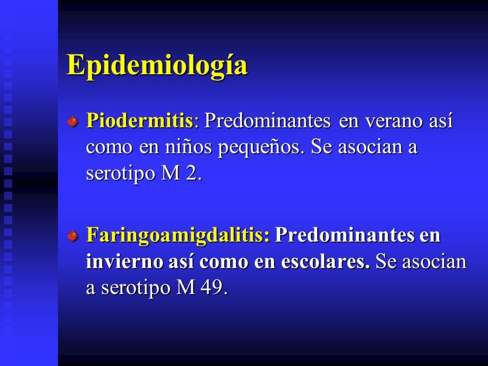 Epidemiología Piodermitis: Predominantes en verano así como en niños pequeños. Se asocian a serotipo M 2. Faringoamigdalitis: Predominantes en inviern