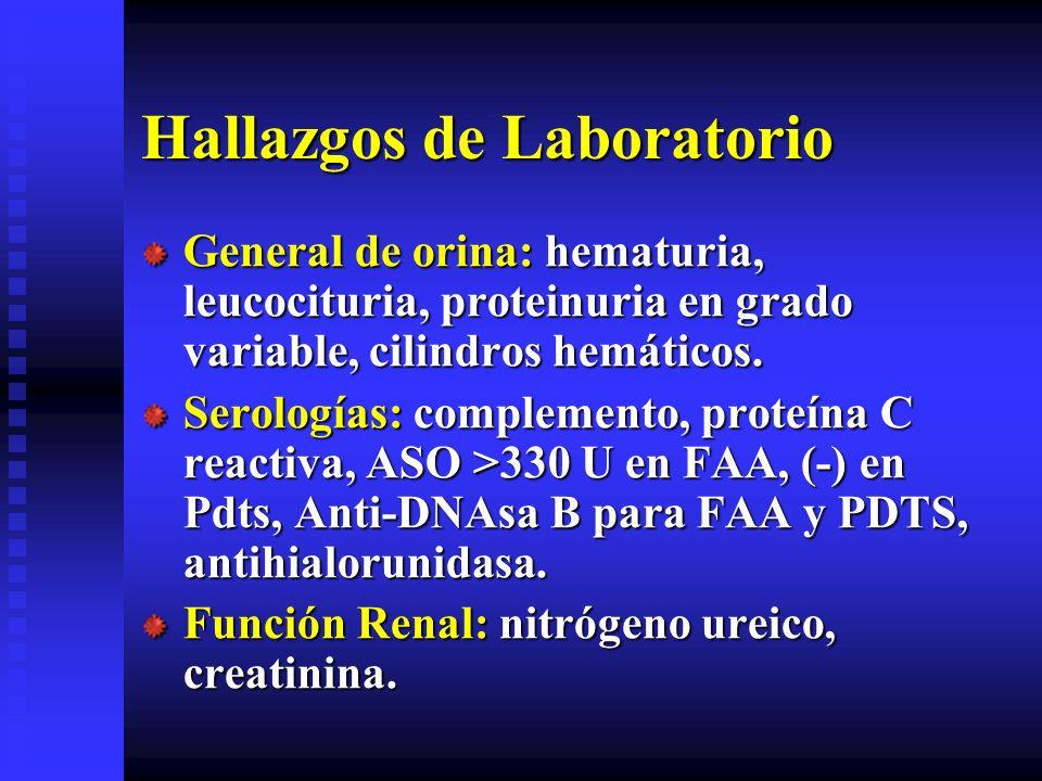 Hallazgos de Laboratorio General de orina: hematuria, leucocituria, proteinuria en grado variable, cilindros hemáticos. Serologías: complemento, prote